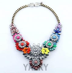 Fashion necklace with colourful flowers pendants