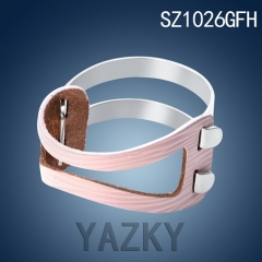 Silver color stainless steel bangle with genuine leather bracelet