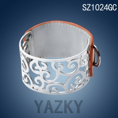 Silver color stainless steel bangle with orange genuine leather bracelet