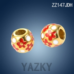 Stainless steel gold plated charm with red and white flower enamel pattern