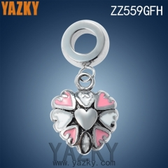 Heart shape stainless steel enamel charm for bracelet
