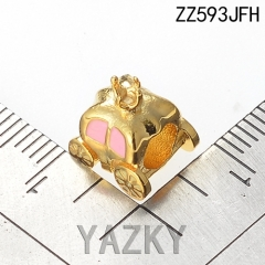 Crown and car stainless steel cute bead charm