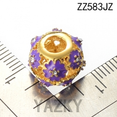 Flower enamel stainless steel 18K gold plating bead charm